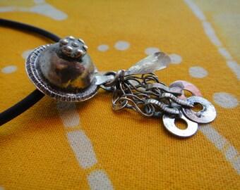 Antique Jingle Petite Button Pendant Necklace