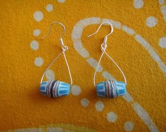 African Pattern Blue Glass Bead Teardrop Earrings