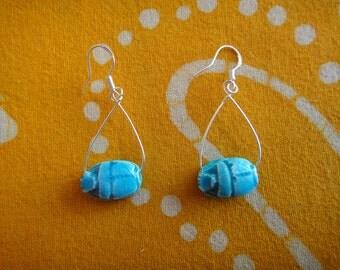 Ancient Egyptian Scarab Bead Teardrop Earrings
