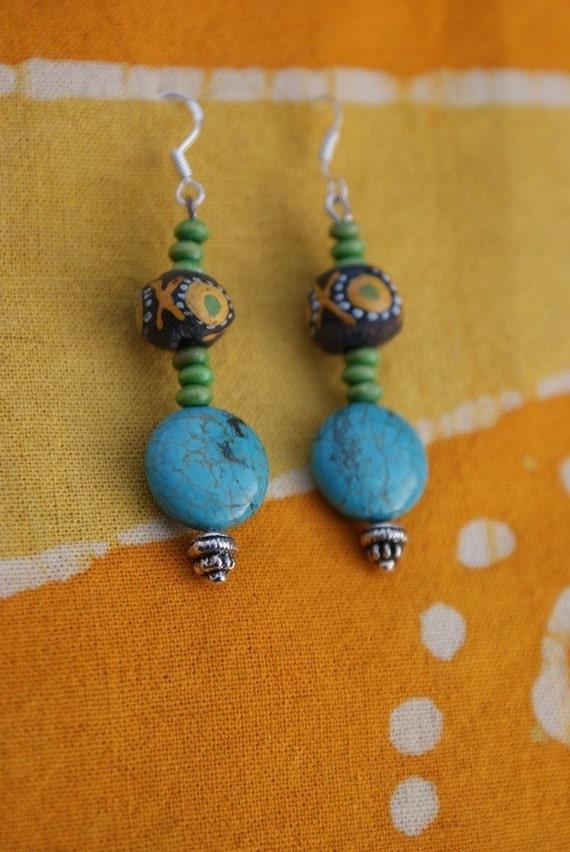 Tribal African Bead Turquoise Earrings