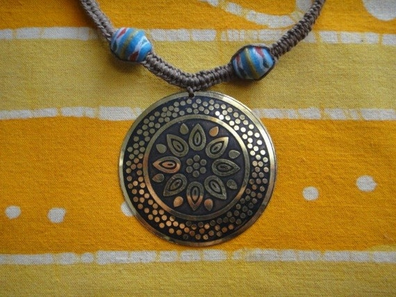 Bohemian Brass Medallion Beaded Hemp Necklace