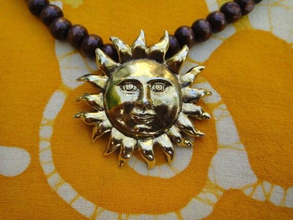 Golden Sun Face Prayer Bead Necklace