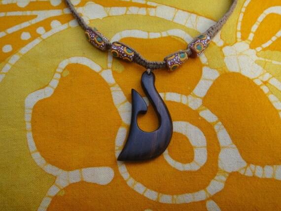 Hawaiian Fish Hook African Bead Hemp Necklace