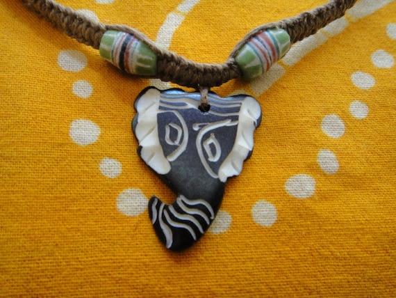 Carved Elephant African Beaded Hemp Necklace