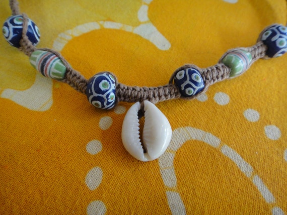 Surfer Cowrie Shell and African Bead Hemp Necklace / Choker