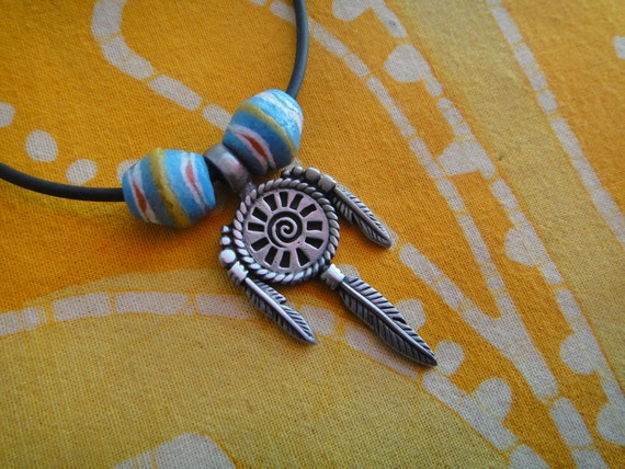 Tribal Dream Catcher African Bead Necklace