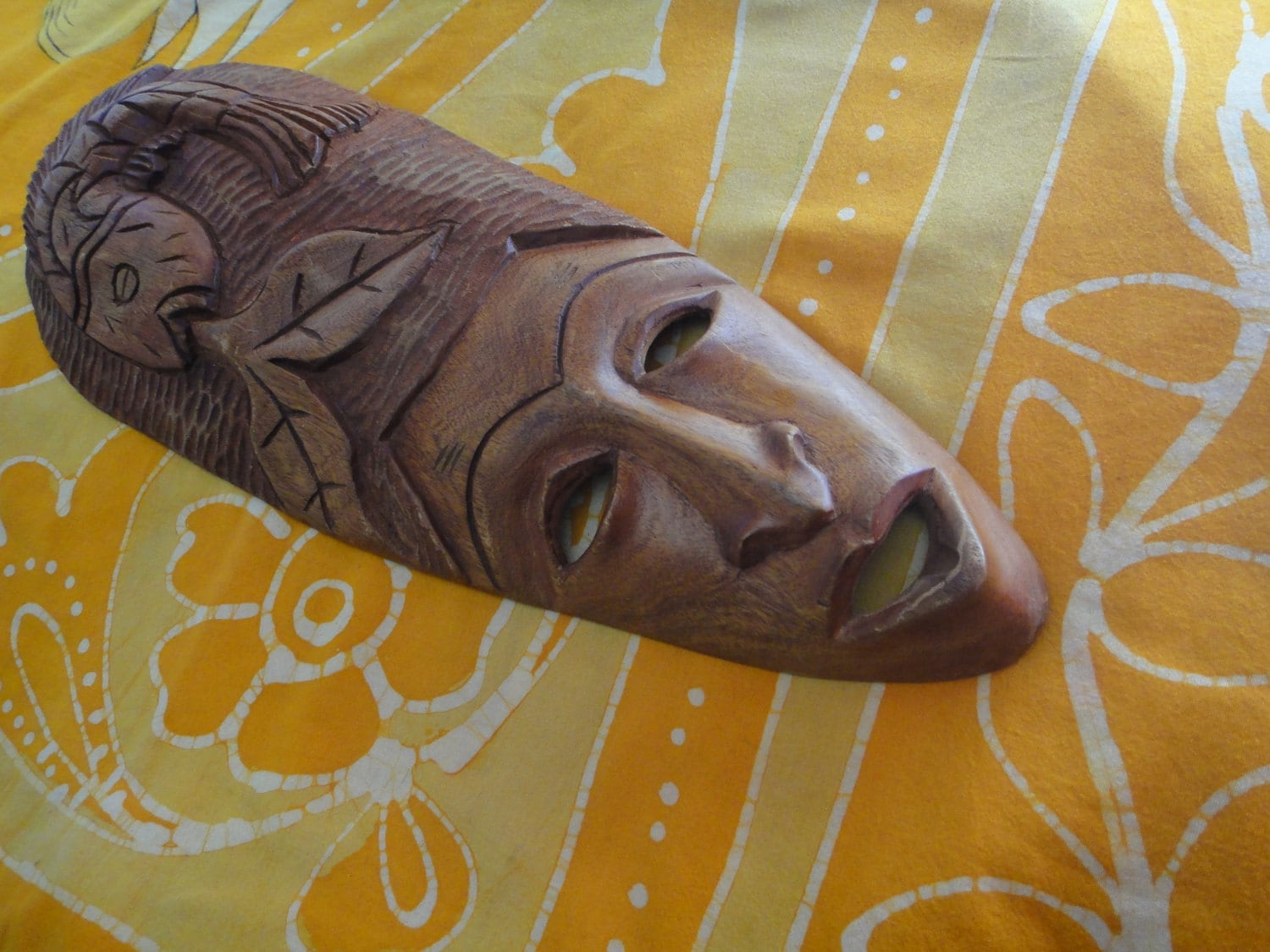 Hand Carved Haitian Fish Woman Mask FREE SHIPPING