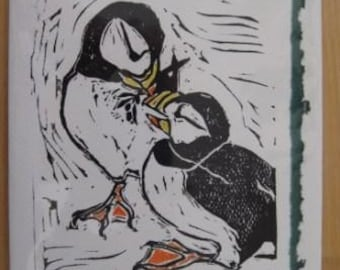 Puffin Pair, Hand-printed Holiday Notecard