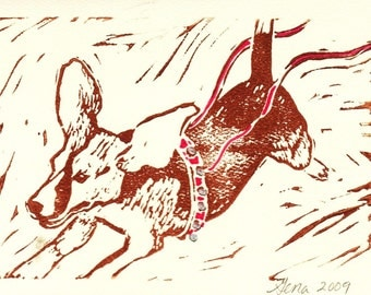 Beagle Joy, Hand-printed Holiday Notecard