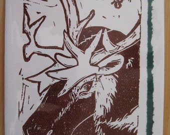 Reindeer Selfie, Hand-printed Holiday Notecard,