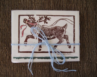 Prancer Reindeer holiday card, 5 pack