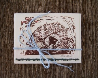 Sea Otter Under the Mistletoe card, 5 pack