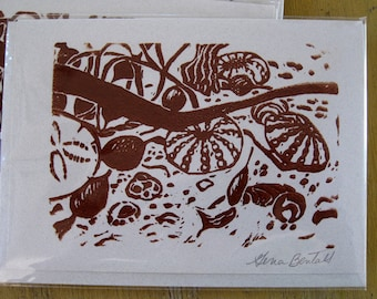 Beachcombing Treasure, Hand-printed Notecard