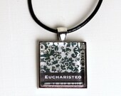 Eucharisteo Black and White Glass Pendant in Silver Tray with Black Leather Cord