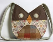 Green Brown Orange Appliqued Owl Purse Bag