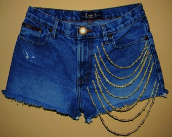 Vintage reworked upcycled cut off denim shorts/ denim shorts with pearl chain details