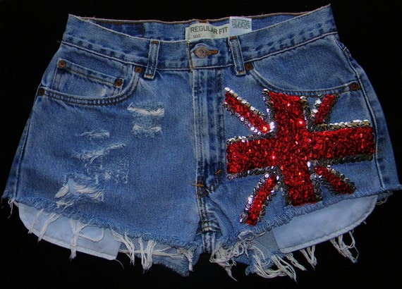 Cut off Union Jack Sequins Shorties
