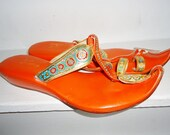 HOLD hold HOLD Orange & Gold Vintage 1970's India Ethnic Womens Sandals 8