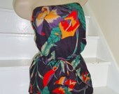 Tropical Floral Strapless Vintage 1980's Summer Romper Playsuit L