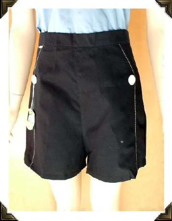 Black Button Rockabilly Vintage 1950's NOS Pinup Shorts 32W M L