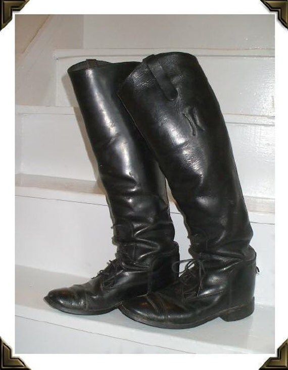 TALL Black Leather Vintage 1960's Riding Military Boots 6