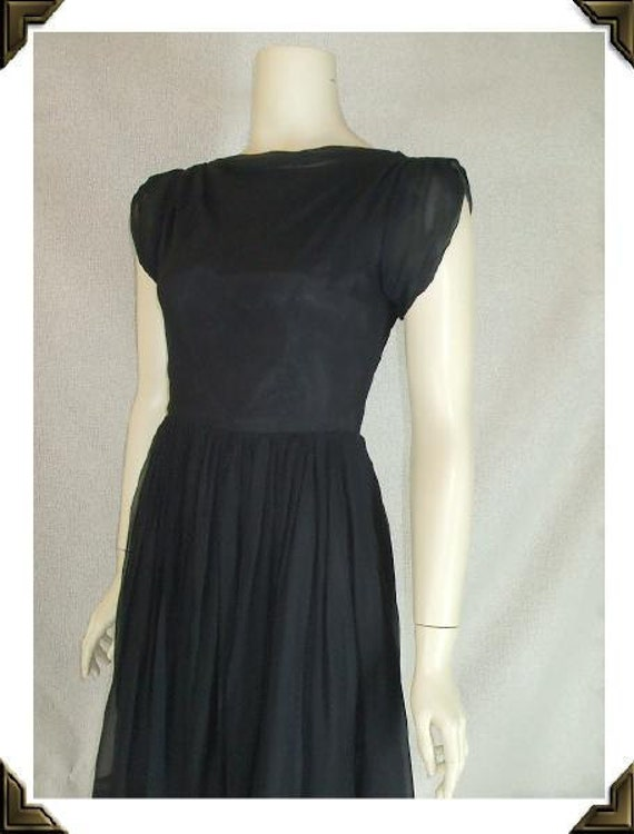 Black Chiffon Boatneck Vintage 1950's Classic Party Dress XS S