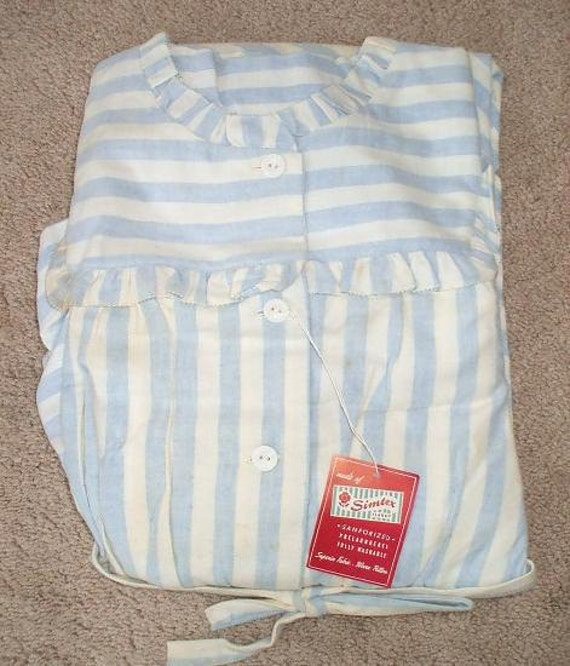RESERVED Blue Striped Flannel Vintage 1950's NWT Womens Nightgown M