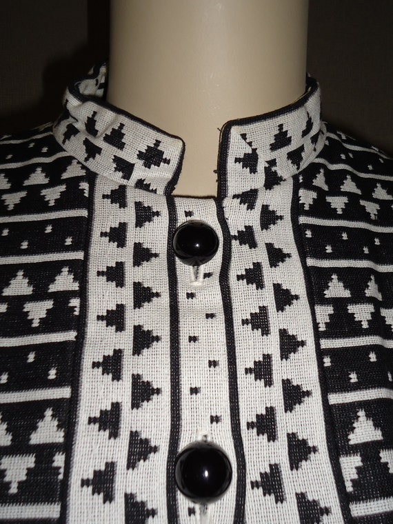 Black & White Geometric Striped Vintage 1960's MOD Dress XL