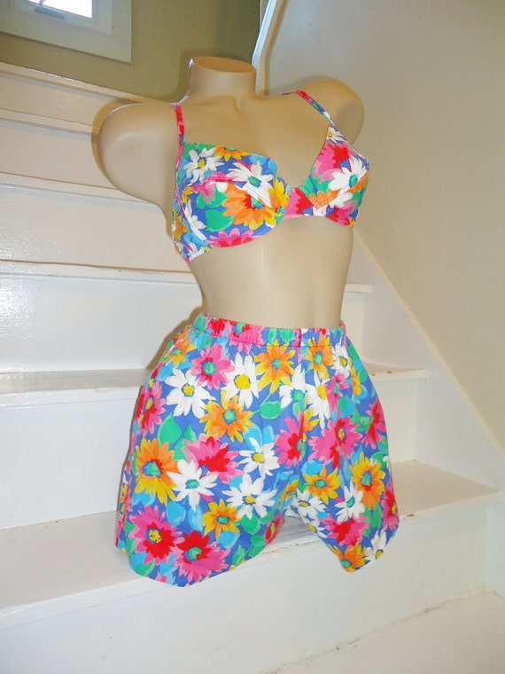 Colorful Daisy Vintage 1980's Sunsuit Bikini Swimsuit 8 S M