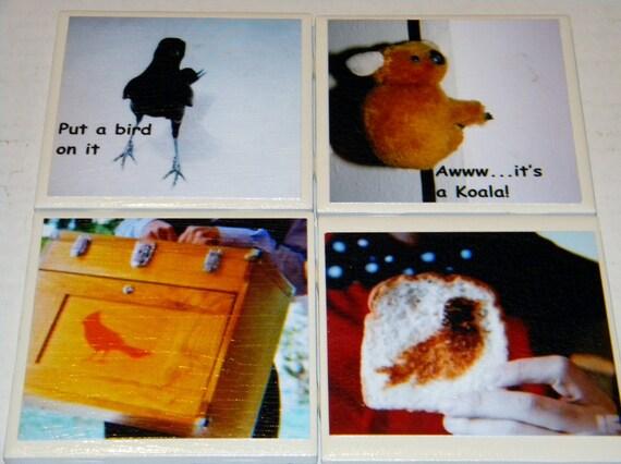 Portlandia Put a Bird on It Wall Art or Ceramic Tile Coaster Set of 4