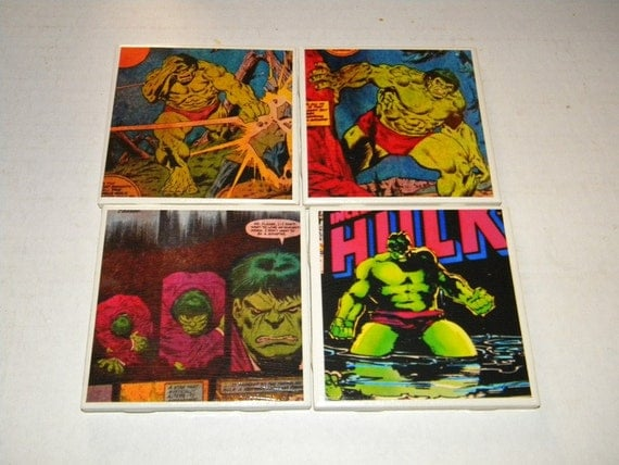 The Hulk Vintage Comic Wall Art or Ceramic Tile Coaster Set of 4  (01)