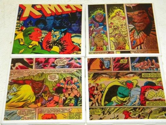 Vintage X-Men Comic Wall Art or Ceramic Tile Coaster Set of 4