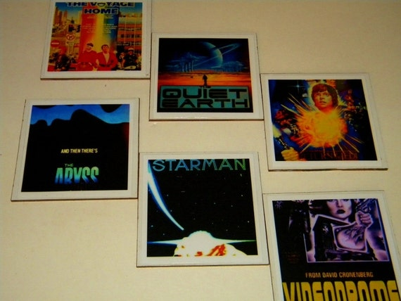 Cult Sci Fi Films Reclaimed Materials Coasters or Wall Art -- Set of 6  (14)