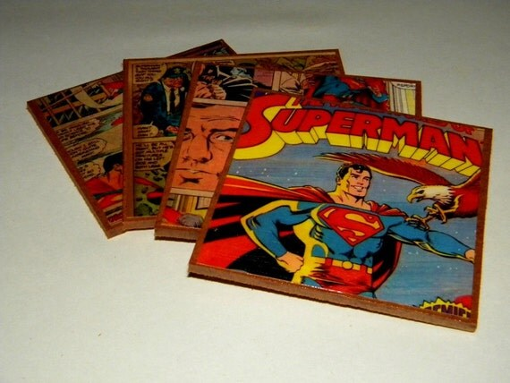 Superman Vintage Comics  Reclaimed Materials Coasters or Wall Art -- Set of 4 --Free Shipping in the USA