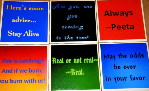 The Hunger Games Quotes Wall Art or Ceramic Tile CoastersSet of 6
