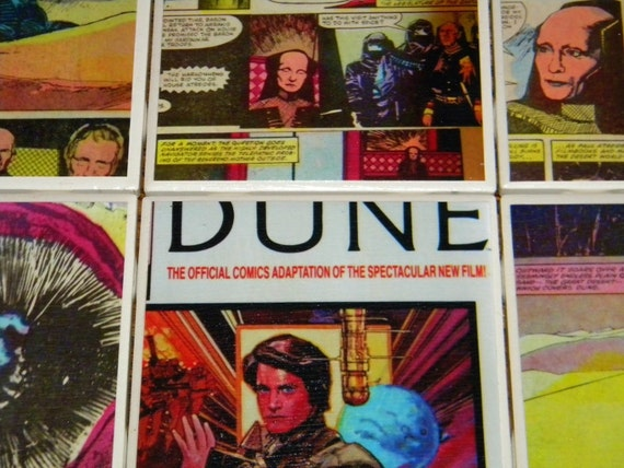 Vintage Dune Comic Wall Art or Ceramic Tile Coaster Set of 6