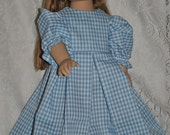 Blue Gingham Pleated Modest Dress for 18 inch Doll