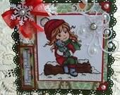 Happy Holidays - Christmas  -  Handmade Card/Scrapbook Topper