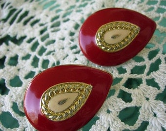 Vintage 80s Earrings Clip On Red Enamel Tear Drop
