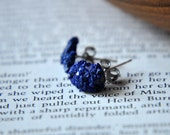 Azurite Blueberries Royal Blue Rough Nugget Earring Posts - Natural