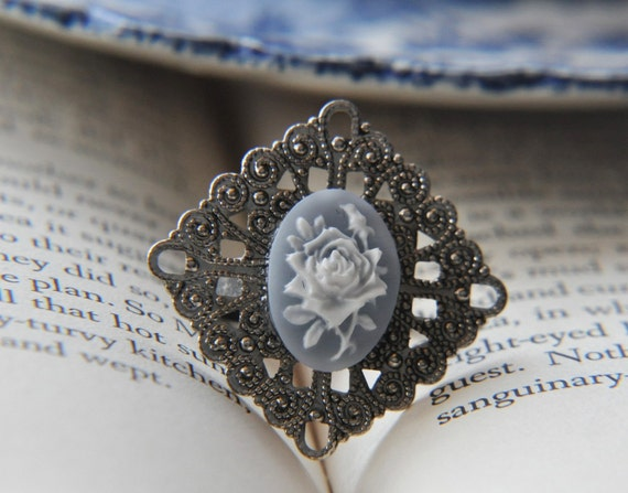 Powder Blue Cameo Ring - White Flower - Antique Silver Filigree - Adjustable - Sturdy