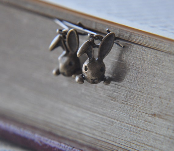 Adorable Antique Brass Bunny Charm Earrings - Kidney wires