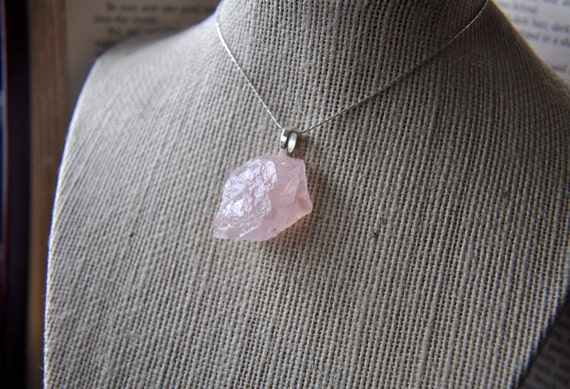Natural Rose Quartz Necklace Gift Wrapped - Silver plated - Bohemian Style - one of a kind unique gift