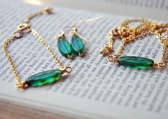 Green and Gold Goddess Jewelry Gift Set - Early Autumn - Leaves - Green Grass - Gold Plated - Wire Wrapped - Necklace - Bracelet - Earrings