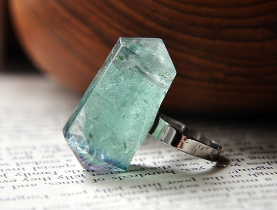Gemstone Fluorite Point on Silver Plated Adjustable Ring Band Green - Transparent - Double Terminated - Semi Precious