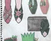 Vintage UNIQUE FELT Slippers and CASE Fabric Pattern xs/s/m/l/xl