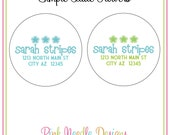 2 Sheets Simple Little Flowers Return Address Labels Spring Summer Customized Round Labels