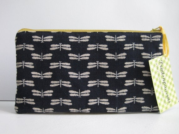 Reserved for J. Japanese Dragonflies in Navy. Seigaiha. Japanese kimono fabric. Minimalist. Zen. Fabric Pouch. Drawstring Bag.