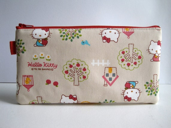 Hello Kitty Pencil Case. Pencil Pouch. Japanese fabric. Ready-to-ship.