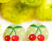 NEW Cute Fabric Button Earrings - Cherries on Green/Polka dots